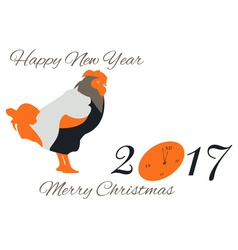 New Year card with a rooster and a clock in orange vector image vector image