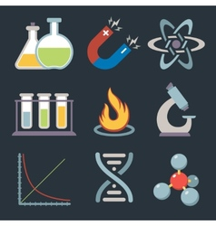 Physics science icons vector image