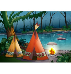 Traditional indian tents in the woods vector image vector image