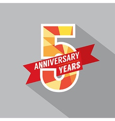 5th Years Anniversary Celebration Design vector image