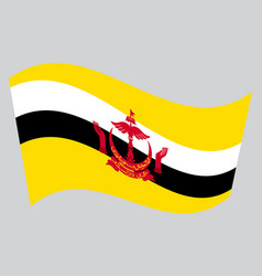 flag of brunei waving on gray background vector image vector image