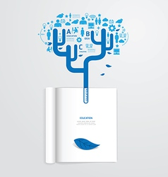 infographic book open with leaf education vector image vector image