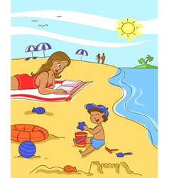 Mom and son on the beach vector image vector image