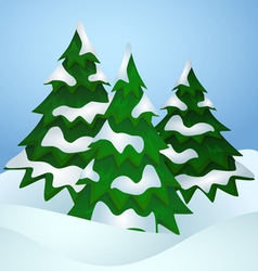 Pine trees covered with snow vector image vector image