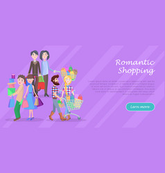 romantic shopping cartoon flat concept vector image vector image