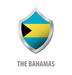 the bahamas flag on metal shiny shield vector image