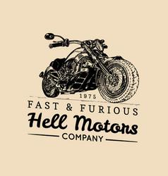 vintage motorcycle logobiker store iconmc vector image vector image