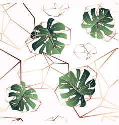a leaf of monstera and crystals seamless pattern vector image