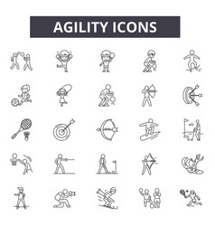 Agility line icons editable stroke signs concept vector