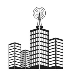 Antenna on building city broadcast business vector