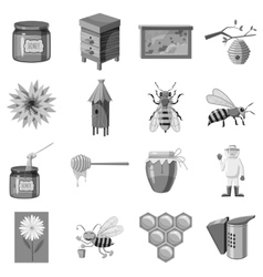 Apiary icons set gray monochrome style vector image