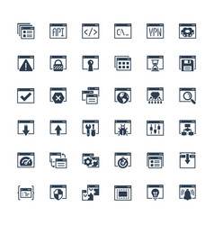 applications and programming icon set in glyph vector image