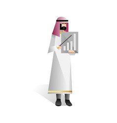 arabic businessman with business diagram vector image