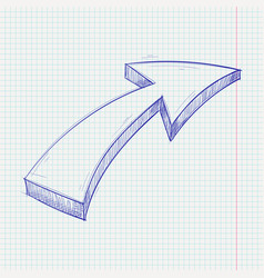 arrow sketch up sign blue hand drawn doodle on vector image
