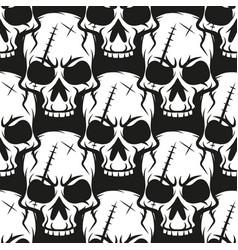 black skull pattern on white background vector image
