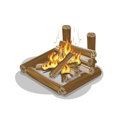 Bonfire from logs with flame isolated on white vector