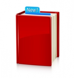 book with red cover and vector image