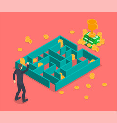 Business labyrinth solution concept 3d isometric vector