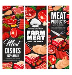Butcher shop farm meat products vector
