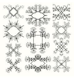 Calligraphic elements vintage set frame vector image