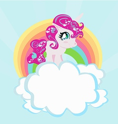 Card with a cute unicorn rainbow in the clouds vector image