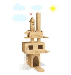 Cardboard castle house building vector
