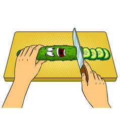 cartoon cucumber pop art vector image