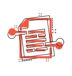 cartoon document paper icon in comic style terms vector image
