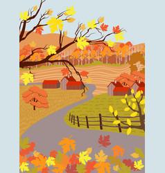cartoon flat countryside village in autumn season vector image