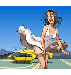cartoon girl with her skirt billowing in the wind vector image