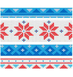 Christmas knitted borders with traditional vector