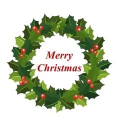 Christmas wreath of holly vector