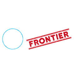 Circle frame mosaic and scratched frontier stamp vector