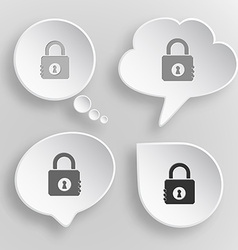 Closed lock White flat buttons on gray background vector image