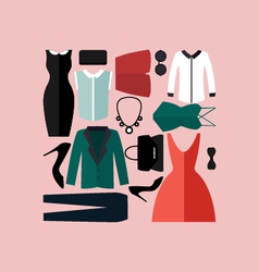 Clothing icons set shopping elements vector image