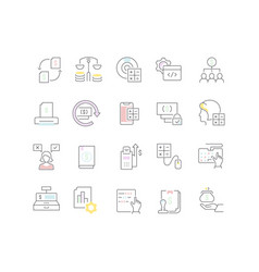 Collection linear icons accounting vector