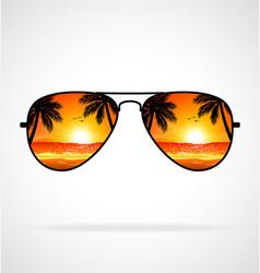 Cool aviator sunglasses sunset beach mirrored vector