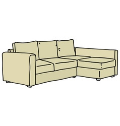 Cream big couch vector