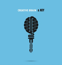 Creative brain sign with key symbol Key of succes vector