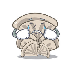 Crying oyster mushroom mascot cartoon vector