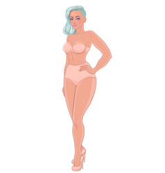 curvy girl in beige underwear isolated on white vector image