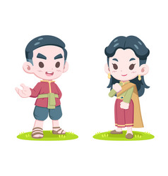 Cute style thai couple in traditional dress vector