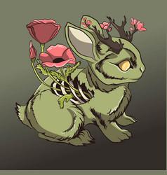 dead zombie rabbit halloween vector image