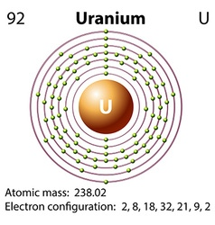 Diagram representation of the element uranium vector image