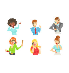 different people talking on smartphones set male vector image