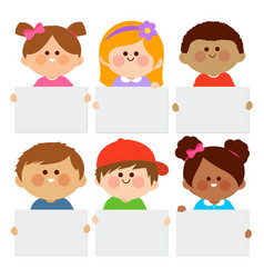 diverse group children holding blank placards vector image