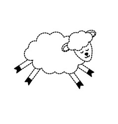 Dotted shape cute sheep animal with wool design vector
