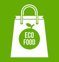 eco food bag icon green vector image