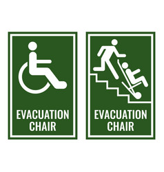 Evacuation chair green signboards for case of vector