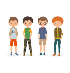 fashion stylish boys vector image